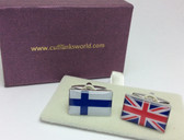 Union Jack and Finnish Flag Cufflinks