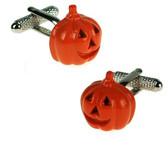 Orange Pumpkin carved style Cufflinks