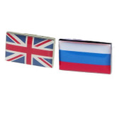 Union Jack and Russian Flag Cufflinks