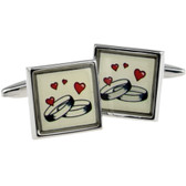 Hearts and Rings: Wedding or Engagement Cufflinks