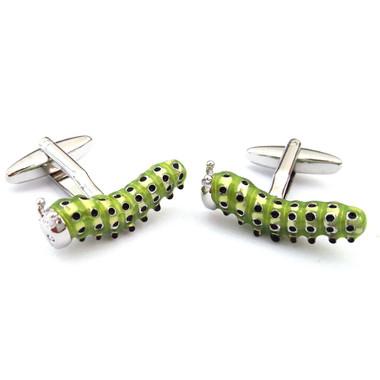 Green Caterpillar Cufflinks