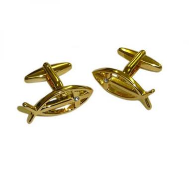 Gold Plated Icthus Cufflinks