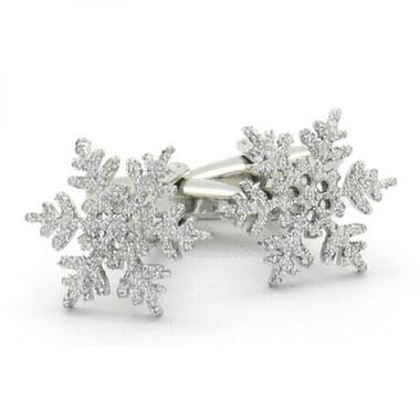 Silvery Snowflake Cufflinks