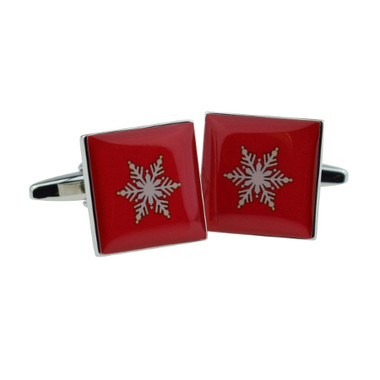 Red Tile Cufflinks with Silvery Snowflake Design