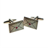 Fabulous personalised envelope letter cufflinks made just for you with your names, date and place included.