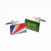 Cufflinks representing the flags of Saudi Arabia and The Seychelles