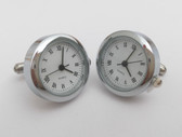 Round Chrome Watch Cufflinks with Roman Numerials