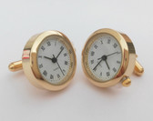 Round Golden Watch Cufflinks with Roman Numerials