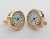 Round Golden Watch Cufflinks with Roman Numerials