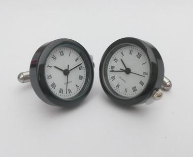 Round Black Framed Watch Cufflinks with Roman Numerials