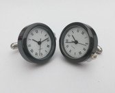 Round Black Framed Watch Cufflinks with Roman Numerials