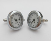 Oval Chrome Watch Cufflinks with Arabic Numbers