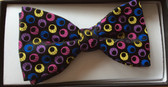 Multi-coloured circles silk bow tie
