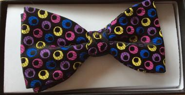 Multi-coloured circles silk bow tie