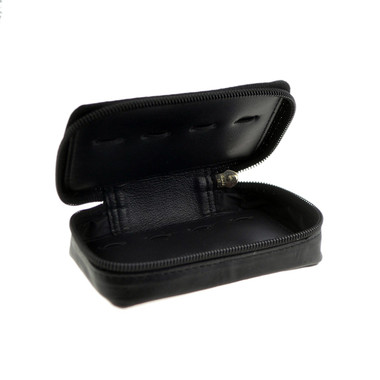 Leather Travel Storage Case (open): holds 6 pairs of cufllinks (not included)