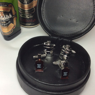 Two pairs of Whiskey / Spirits Cufflinks (Hip Flask and Bottle of Whisky)  in Black Leather Case Gift Set