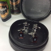 Two pairs of Whiskey / Spirits Cufflinks in Black Leather Case Gift Set