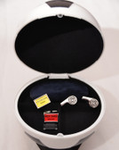 Two Pairs of Football / Referree Cufflinks and a football shaped stoage case