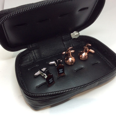 Fabulous gift set comprising two pairs of whiskey theme cufflinks in a leather storage case