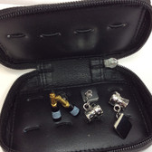 Fabulous gift set comprising two pairs of Champagne theme cufflinks in a leather storage case