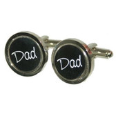 Round Black background with white writing Dad Cufflinks