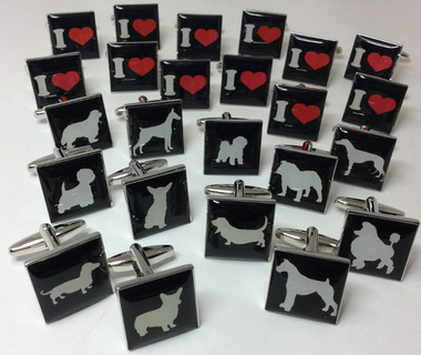 I Love My Dog: Choose your dog breed cufflinks from the list.
