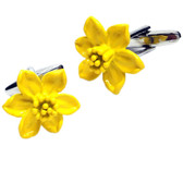 Yellow Daffodill Flower Cufflinks