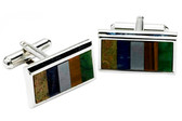Multi color stones cufflinks