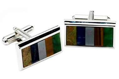 Multi color stones cufflinks