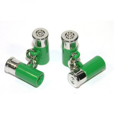 Green and silver coloured chain-link cartridge cufflinks