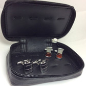 Leather Travel Case (holds up to 6 pairs of cufflinks) with 2 pairs of whiskey theme cufflinks (hip flasks and glass of whisky cufflinks)