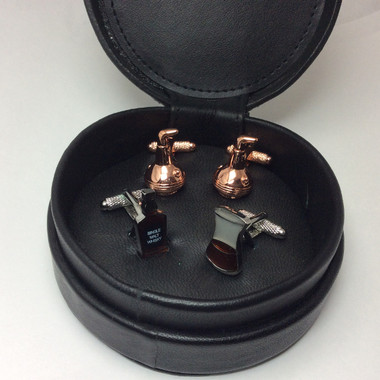 Two pairs of Whiskey / Spirits Cufflinks (Golden Stills Cufflinks and Mixed: Whiskey Bottle and Glass Cufflinks)  in Circular Black Leather Case Gift Set