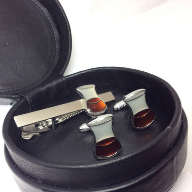 Whisky Glasses Cufflinks and Tie Bar Gift Set in Circular Black Leather Case