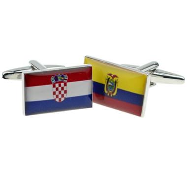 One of each: Croatian flag and Ecuadorian Flag Cufflinks