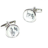 One of each: Treble and Bass Clef Stave Round Cufflinks
