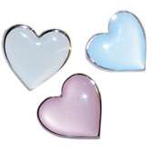 Choose from white, pink or blue heart shaped lapel pin badges - such delicate pastel colours - why not pick all three!