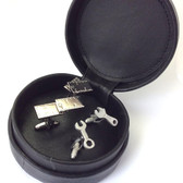 DIY, Builder, Mechanic Gift Set of two pairs of Cufflinks in Leather Travel Case