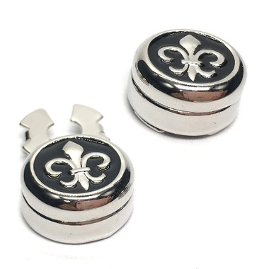 Fleur De Lys Design Cuff Button Covers (pair): perfect for shirts that have buttons and no cufflinks holes!