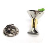 Two Tone Cocktail Martini Glass Lapel Pin Badge