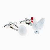 Chicken and Egg 3D cufflinks
