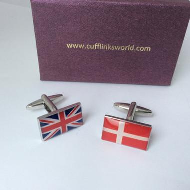 One of each: Danish flag and Union Jack / UK Flag Cufflinks