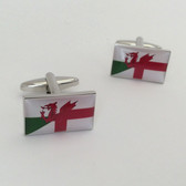 Welsh (Red Dragon) Flag combined with the English (Cross of St George) Flag Cufflinks