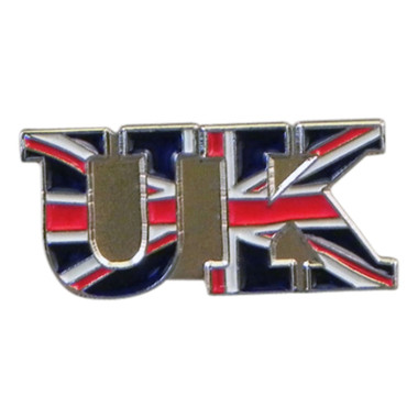 Show your patriotisim with this Union Jack within the letter UK  lapel pin badge