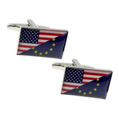 Representation of USA and European Union combined flags as cufflinks