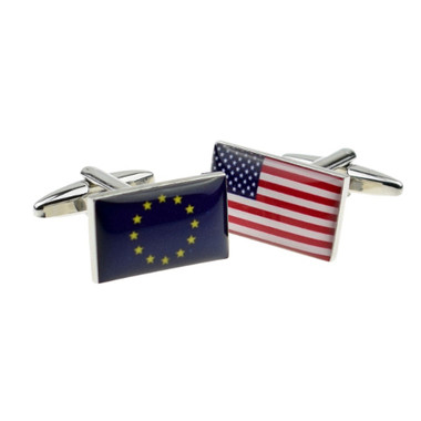 One of each: European Union Flag and USA 'Stars and Stripes' Flag Cufflinks