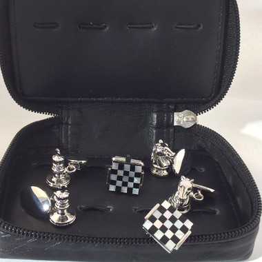 Three pairs of beautiful cufflinks in soft leather travel case:  Mother of Pearl Chess Board Cufflinks King chess piece chain-link cufflinks  Knight chain-link chess piece cufflinks