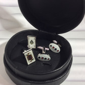 Pair of Blackjack (Ace of Spades and Jack of Spades) T-Bar cufflinks and a Pair of Oval four suits cufflinks in a wonderful circular soft padded real leather black storage case, at a special gift set price.