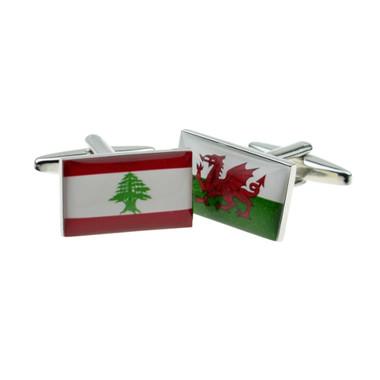 One of each: Lebanese Flag and Welsh Flag Cufflinks