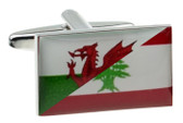 Welsh and Lebanese Flags combined Cufflinks