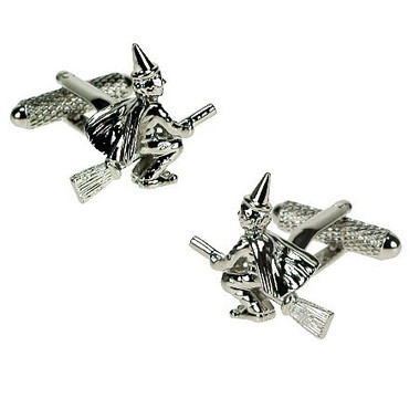 Witch on broomstick cufflinks